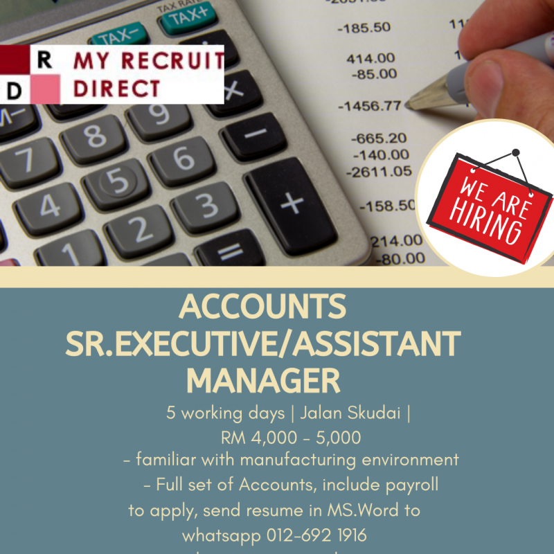 ACCOUNTS ASSISTANT MANAGER [C.C.SBS]