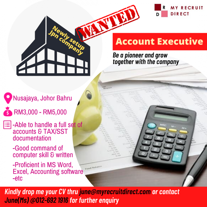 Account Executive (NEWLY setup company) (cc:SBS)
