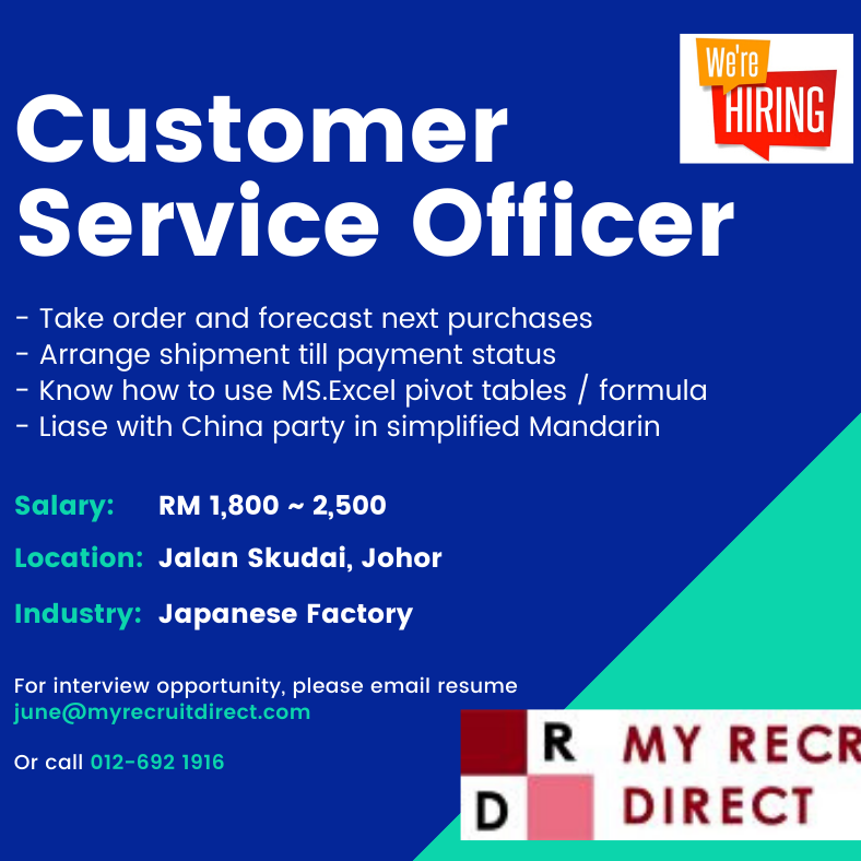 CUSTOMER SERVICE OFFICER (cc: SBS)