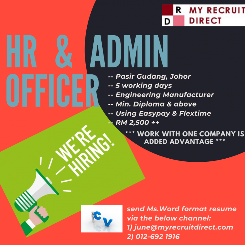 HR & ADMIN OFFICER [cc: SBS]